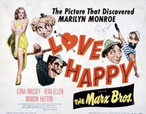 Love Happy, Marilyn Monroe, Marion Hutton, Harpo Marx, Groucho Marx, Chico Marx, 1949