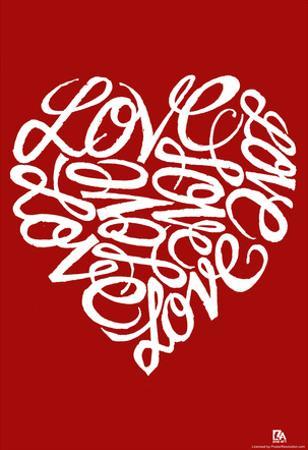 Love Heart Cursive Text Poster