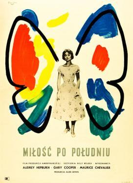 Love in the Afternoon, (AKA Milosc Po Poludniu), Polish Poster, Audrey Hepburn, 1957