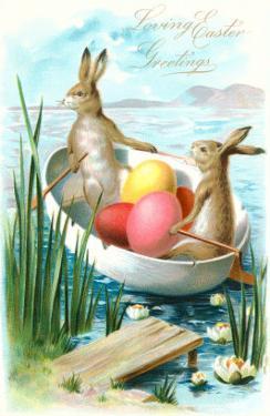 Loving Easter Greetings, Rabbits in Rowboat