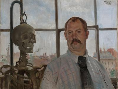 Selfportrait with Skeleton by Lovis Corinth