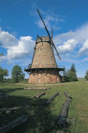 Low Angle View of a Traditional Windmill, Eleja, Latvia