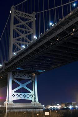 Low angle view of bridge at night, Philadelphia, Pennsylvania, USA