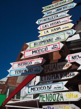 Low Angle View of Distance Signs, Avenida Juan Gorlero, Punta Del Este, Maldonado, Uruguay