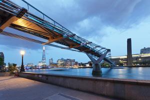 Low Angle View of Millennium Bridge, Thames River, Southwark, London, England