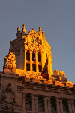 Low angle view of Post office building, Palace of Communication, Plaza De Cibeles, Madrid, Spain