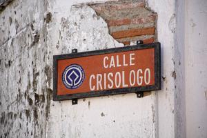 Low angle view of street sign, Calle Crisologo, Vigan, Ilocos Sur, Philippines