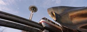 Low Angle View of the Monorail and Space Needle, Seattle, Washington State, USA