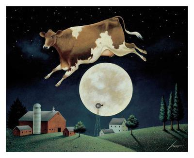 Lowell Herrero Proud Gate Animals Cows Farm Print Poster 11x14