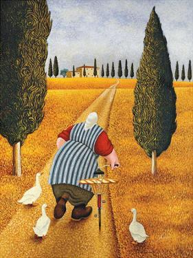 Lady with Fresh Bread by Lowell Herrero