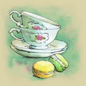 Painted Watercolor French Dessert Macaroons and Tea Cups by lozas
