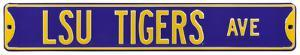 LSU Tigers Ave purple Steel Sign