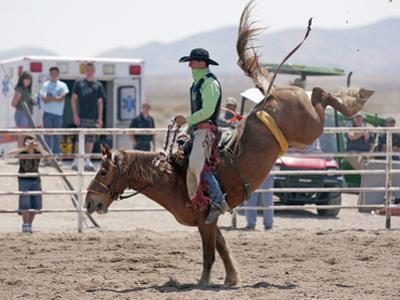 Competitor in the Bronco Riding Event During the Annual Rodeo Held in Socorro, New Mexico, Usa