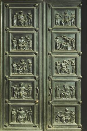 Italy, Florence, Church of Santa Maria Del Fiore, Door of Sacristy of Masses