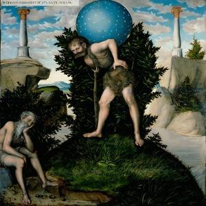 Atlas and Hercules (From the Labours of Hercule) by Lucas Cranach the Elder
