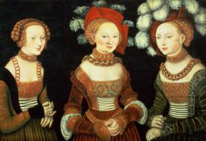 Three Princesses of Saxony, Sibylla (1515-92), Emilia (1516-91) and Sidonia (1518-75) by Lucas Cranach the Elder