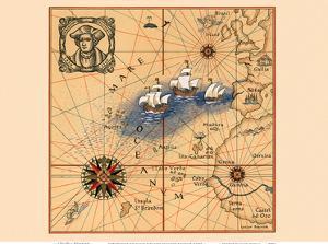 Christopher Colombus 1436-1506 - Trans-Atlantic Map by Lucien Boucher