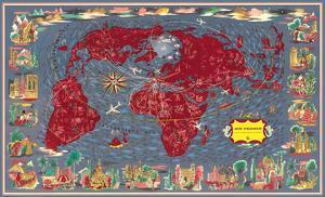 Largest Network in the World (Le Plus Grand Réseau du Monde) - Air Routes by Lucien Boucher