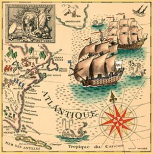 Marquis de Lafayette 1757-1834 - Trans-Atlantic Map by Lucien Boucher