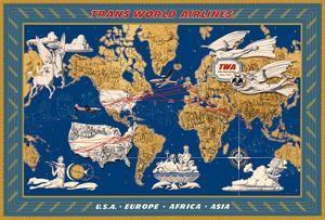 World Air Routes - USA, Europe, Africa, Asia - TWA (Trans World Airlines) by Lucien Boucher