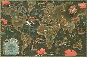 World Map - Fly Routes World Map - Planisphere by Lucien Boucher