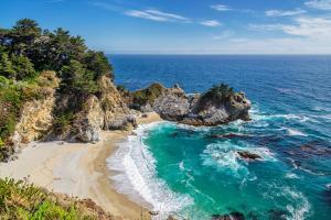 Beach and Falls, Julia Pfeiffer Beach, Mcway Falls, California by lucky-photographer