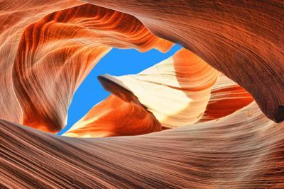 The Blue Sky over the Antelope Slot Canyon, Arizona by lucky-photographer