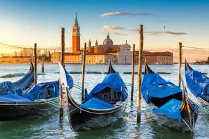 Venice Gondolas on San Marco Square at Sunrise, Venice, Italy by lucky-photographer