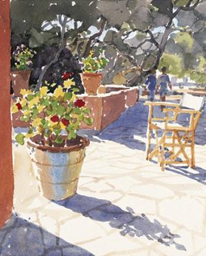 Geraniums and New Chairs by Lucy Willis