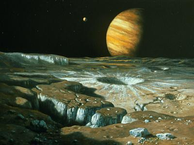 Artist's Impression of Jupiter Over Europa