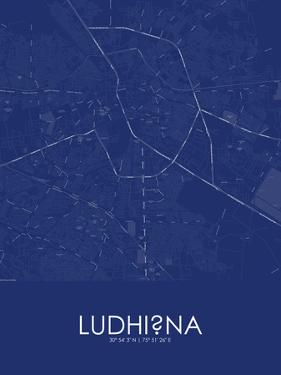 Ludhiana, India Blue Map