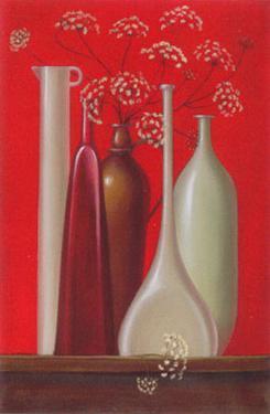 Elderflowers Against Red Background by Ludmila Riabkowa