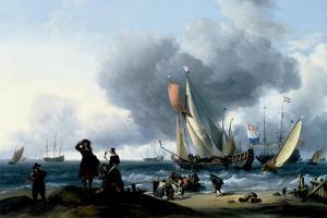 Dutchmen Embarking onto a Yacht, C.1670 by Ludolf Backhuysen