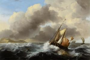 Fishing Vessels Offshore in a Heavy Sea, 1864 by Ludolf Backhuysen