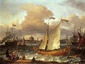 The Swedish Yacht 'Lejouet', in Amsterdam Harbour, 1674 by Ludolf Backhuysen