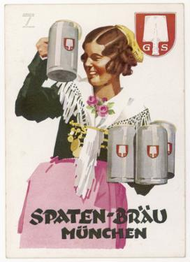 Waitress Brings Four Seidels of Frothy Spaten-Brau by Ludwig Hohlwein