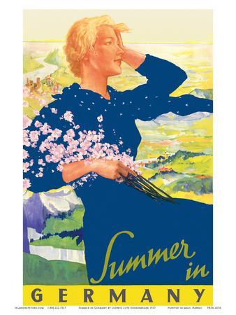Summer in Germany - Woman with Wildflowers Bouquet - Reichsbahnzentrale (National Railroad Central)