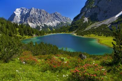 Austria, Ehrwald, Seebensee with Zugspitze by Ludwig Mallaun