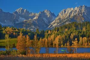 Austria, Kitzbuehel, Black Lake Against Wild Emperor, Autumn, by Ludwig Mallaun