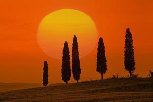 Italy, Tuscany, Sundown with Pienza (M) by Ludwig Mallaun
