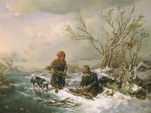 Collecting Firewood on a Winter's Day by Ludwig Mecklenburg