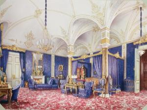 Interiors of the Winter Palace, the Bedchamber of Empress Maria Alexandrovna, 1859 by Ludwig Premazzi