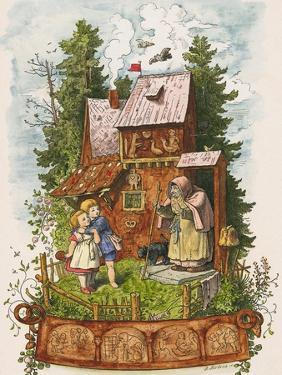 Hansel and Gretel Outside the Gingerbread House by Ludwig Richter