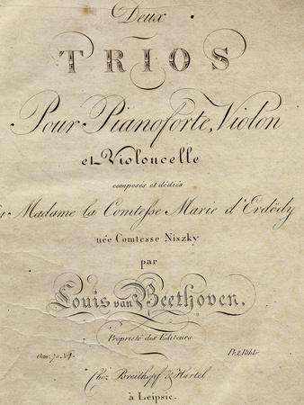 Title Page of Score for Set of Two Piano Trios, Written for Piano, Violin, and Cello, Opus 70