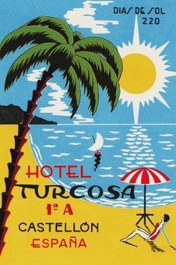 Luggage Label Advertising the Spanish Hotel Turcosa, Printed C.1962