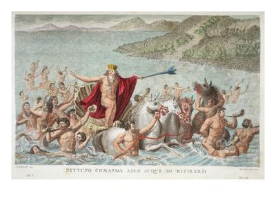 Neptune Calming the Waves, Book I, Illustration from Ovid's Metamorphoses, Florence, 1832