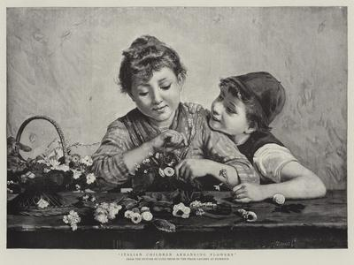 Italian Children Arranging Flowers