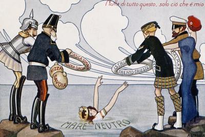 Satirical Cartoon Dedicated to Italian Neutrality, 1914