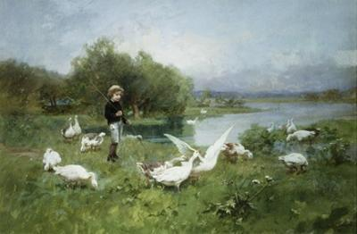 Tending the Geese by Luigi Chialiva