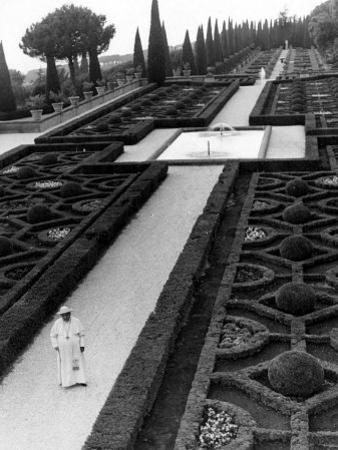 Pope John XXIII Walks in the Gardens of His Summer Residence at Castelgandolfo by Luigi Felici